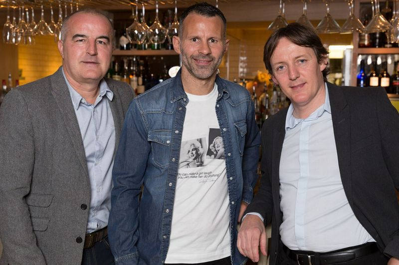 Ryan Giggs with his friends and co-owners Kelvin Gregory and Bernie Taylor