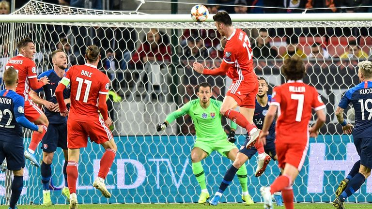 Kieffer Moore's headed Wales in front with a towering header midway through the first half