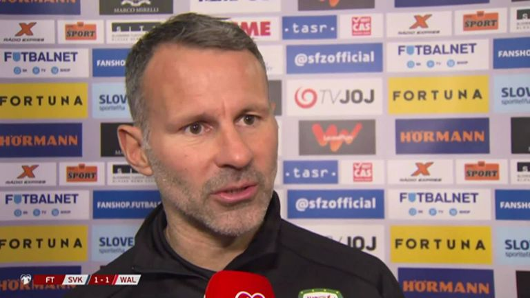 Wales boss Ryan Giggs said he was pleased with his side's performance despite the 1-1 draw with Slovakia.