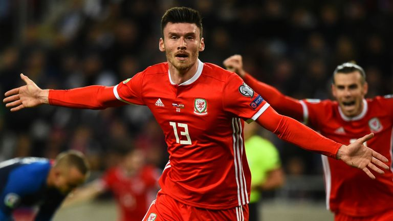 Kieffer Moore celebrates opening the scoring for Wales against Slovakia